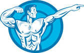 Bodybuilder Flexing Muscles Pointing Side Retro — Stock Vector