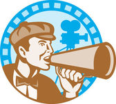 Movie Film Director With Bullhorn And Camera Retro — Stock Vector
