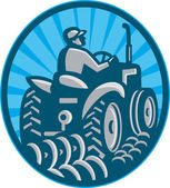 Farmer Plowing With Tractor Retro — Stock Vector