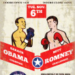 Romney Vs Obama American Elections 2012 Boxing — Stock Photo