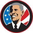 Stock Photo: AmericPresident Barack ObamFlag