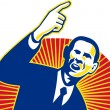 Stock Photo: AmericPresident Barack Obampointing forward