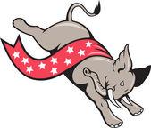 Elefant springen demokrat maskottchen — Stockvektor