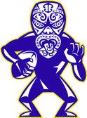 Giocatore di rugby di maschera maori in esecuzione con palla difendendo — Vettoriale Stock