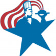 Chef Cook Baker Serving Hot Food Stars Stripes - Stock Vector