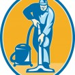 Stock Vector: Cleaner Janitor Worker Vacuum Cleaning