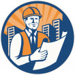 Construction Engineer Architect Foreman Retro - Stock Vector