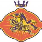 Knight Riding Horse Lance Retro — Stock Vector