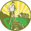 Vector de stock : Gardener Mowing Lawn Mower Retro