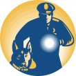 Stock Vector: Security Guard PolicemPolice Dog