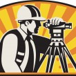 Surveyor Engineer Theodolite Total Station Retro — Stockvectorbeeld