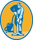 Cleaner Janitor Worker Vacuum Cleaning — Stock Vector