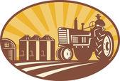 Agricultor manejando xilografía retro vintage tractor — Vector de stock