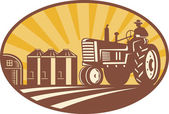 Farmer Driving Vintage Tractor Retro Woodcut — Stockvector