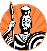 Soldado centurião romano com lança e escudo — Vetorial Stock