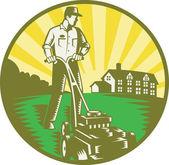 Ogrodnik koszenia trawników kosiarka retro — Wektor stockowy