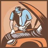 Automobile Mechanic Car Repair — Stock Vector