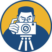 Photographer With Camera Retro — Stock Vector