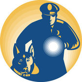 Security Guard Policeman Police Dog — Vetorial Stock