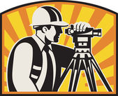 Surveyor Engineer Theodolite Total Station Retro — Vector de stock