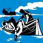 Passenger Ship Sinking Survivors in Life Raft — Stock Photo #7965399