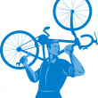 Cyclist mechanic holding spanner and carry bicycle — Stock Photo
