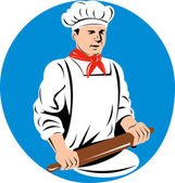 Chef cook baker holding kneading rolling pin — Stock Photo