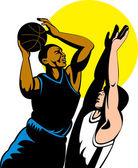 Basketball player shooting ball — ストック写真