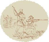 American Civil War confederate soldier fighting — Stock Photo
