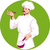 Chef cook baker holding sauce pan and spoon — Stock Photo