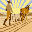 Farmer and horse plowing the farm - Stock Photo