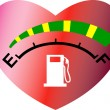 Fuel gage meter heart shape - Stock Photo