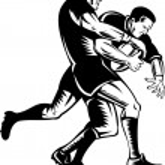 Постер, плакат: Rugby player tackle the ball