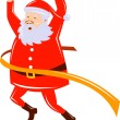 Father Christmas Santa Claus running a race — Stock Photo