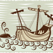 Galleon sailing ship at sea with whale — Stock Photo