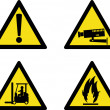 Workplace sign security camera forklift flammable — Stok fotoğraf