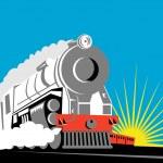 Vintage steam train locomotive — Stock Photo
