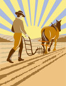Farmer and horse plowing the farm — Stock Photo
