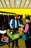 Female shopper shopping at indoor flea market — Stock Photo