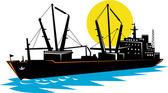 Cargo ship at sea — Stock Photo