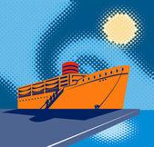 Passenger cargo ship docking — Stock Photo