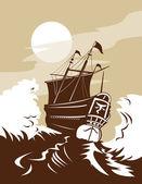 Galleon sailing ship at sea — Stock Photo