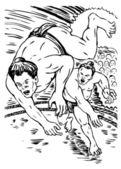 Japanese sumo wrestler fighting — Stock Photo