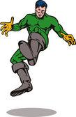 Cartoon super hero kicking — Stock Photo
