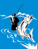 Trout fish jumping reeled by fly fisherman — Stock Photo