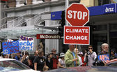 Green Peace Climate Change campaign protest march in Auckland — Stock Photo