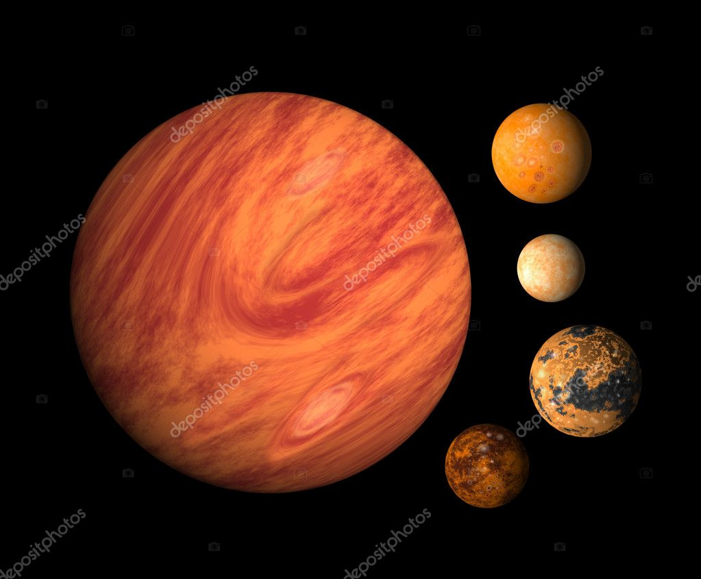 Illustration of planet Jupiter with moons europa, callisto,ganymede,io on isolated background — Stock Photo #7977432