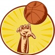 Basketball Player Hand Catching Throwing Ball — Stock Photo #8909884