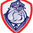 Stock Photo: Cartoon Police Dog Watchdog Bulldog Shield