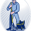 Stock Photo: Janitor Cleaner With Mop Cleaning Retro
